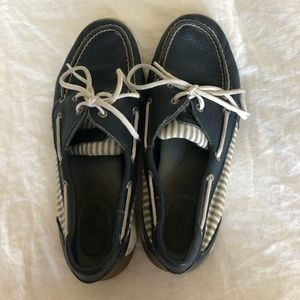 Navy Blue Striped Top-sided Sperry's